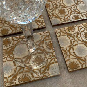 John Robshaw Metallic Gold Drink Coasters
